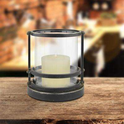7 in. Black Metal Trim Hurricane Candle Holder