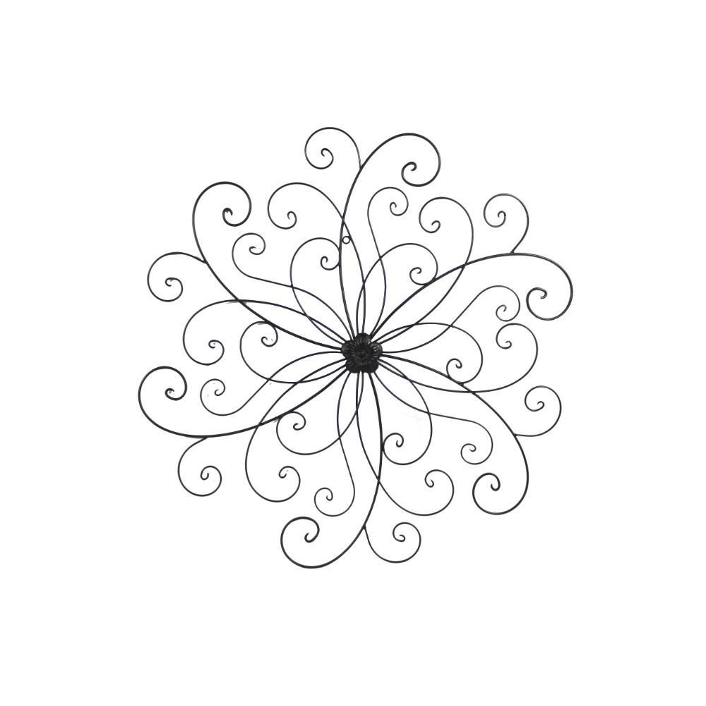 Scroll Design Flower Bronze Metal Wall Decor