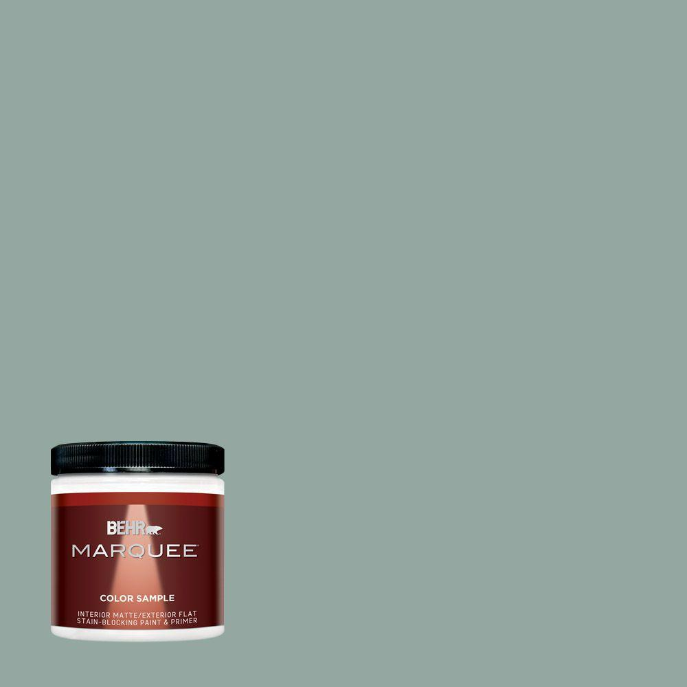 Behr marquee 8 oz ppu12 5 lotus leaf one coat hide interior exterior flat matte paint sample for Best one coat coverage exterior paint