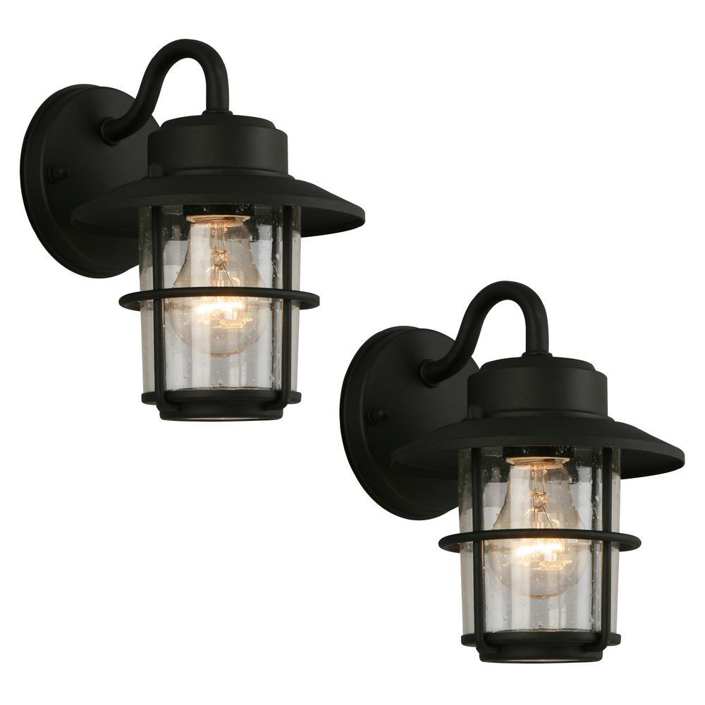 1-Light Black Outdoor Wall Mount Lantern (2-Pack)