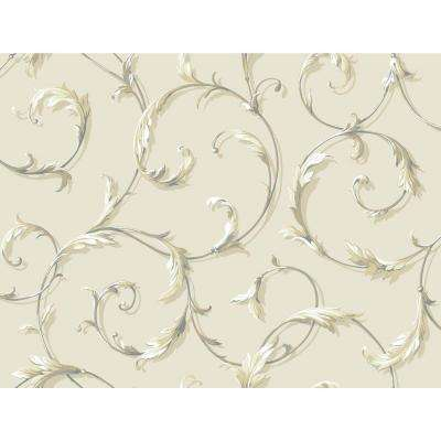 Black and White Beige Acanthus Scroll Wallpaper