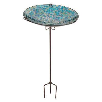 Mosaic Birdbath/Feeder Stake - Blue Onion Drop