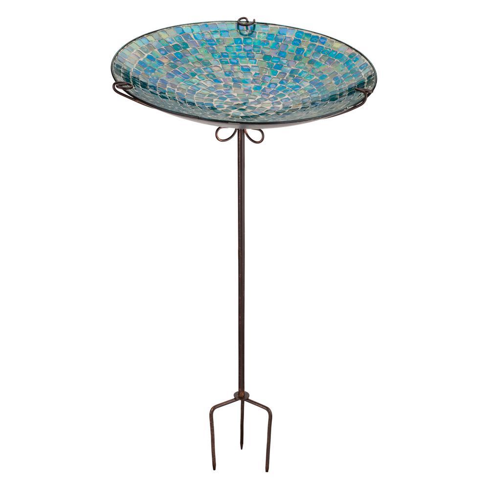 Regal Mosaic Birdbath/Feeder Stake - Blue Onion Drop by Regal