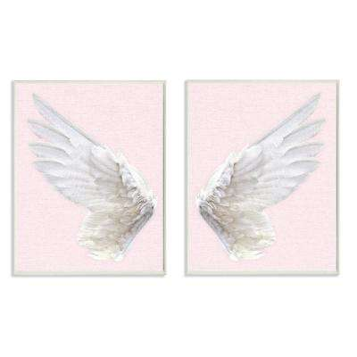 "10 in. x 15 in. ""Pink Wings"" by Daphne Polselli Printed Wood Wall Art"