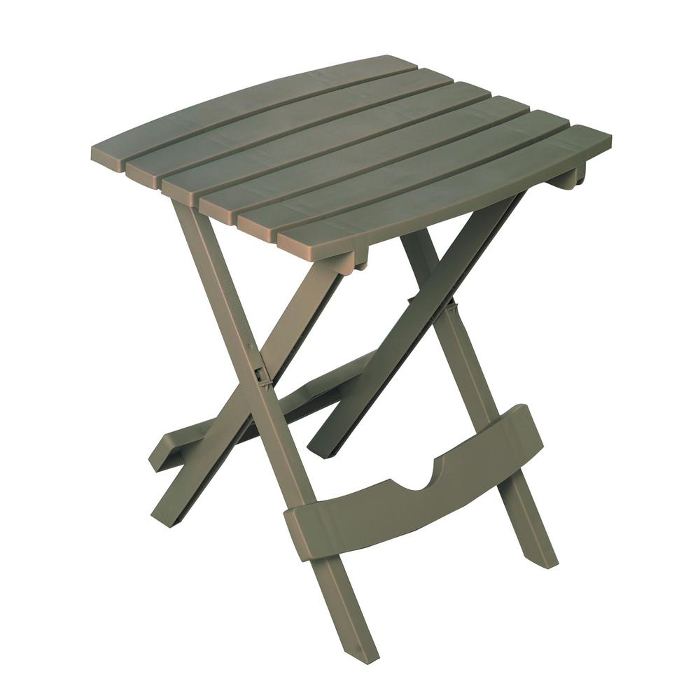 Adams Manufacturing Quik Fold Gray Resin Plastic Outdoor Side Table