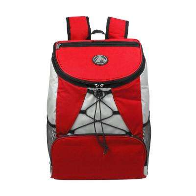 4-Pocket Cargo Insulated Backpack Leak Proof Soft Cooler in Red for Lunch, Picnic, Hiking, Beach and Park