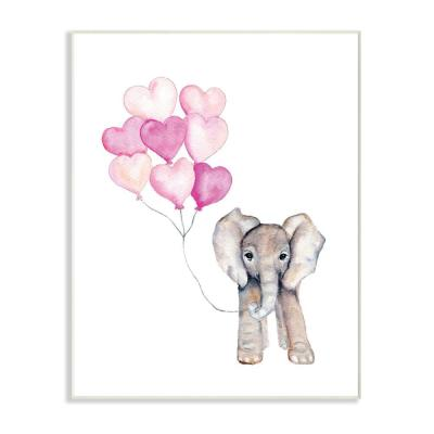 """10 in. x 15 in. """"Baby Elephant with Pink Heart Balloons"""" by Daphne Polselli Printed Wood Wall Art"""