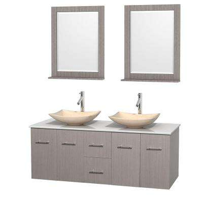 Centra 60 in. Double Vanity in Gray Oak with Solid-Surface Vanity Top in White, Ivory Marble Sinks and 24 in. Mirrors