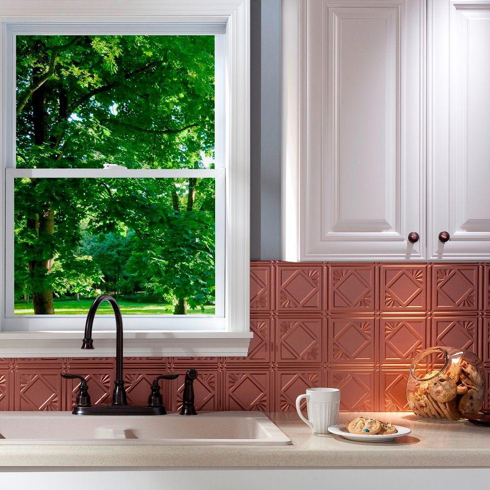 Fasade 24 in. x 18 in. Traditional 4 PVC Decorative Backsplash Panel in Argent Copper