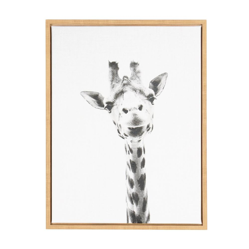 Kate And Laurel Sylvie Giraffe By Tai Prints Framed Canvas