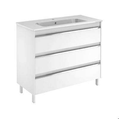 39.5 in. W x 18.1 in. D x 33.4 in. H Bathroom Vanity Unit in Gloss White with Vanity Top and Basin in White