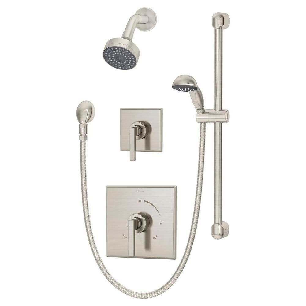 Symmons Duro 1 Handle Hand Shower And Showerhead Combo Kit In Satin