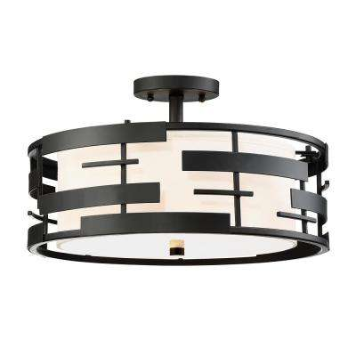 3-Light Textured Black Semi-Flushmount with White Fabric Shade and Opal Diffuser