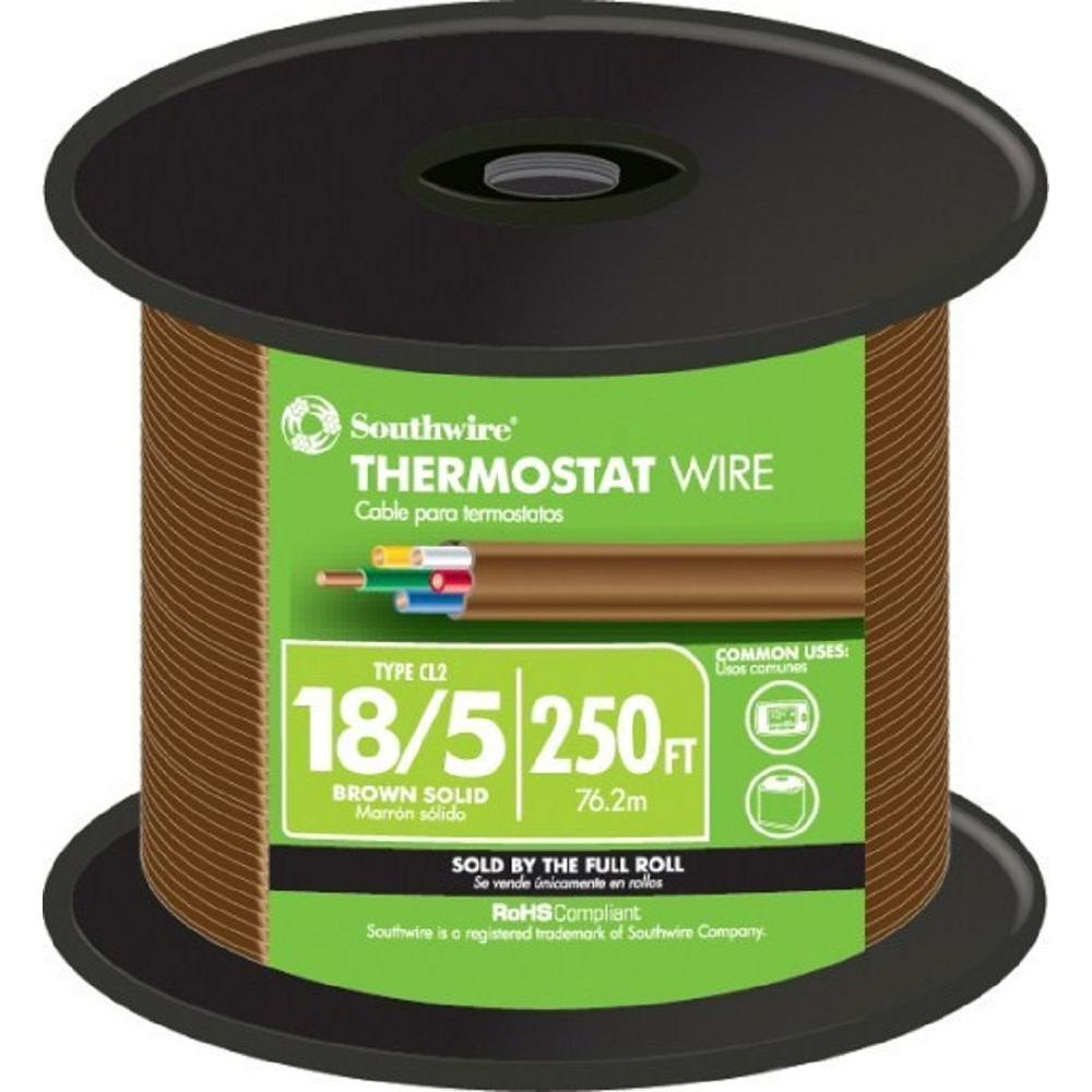 Southwire (By-the-Foot) 18-5 Brown Solid CU Thermostat Wire