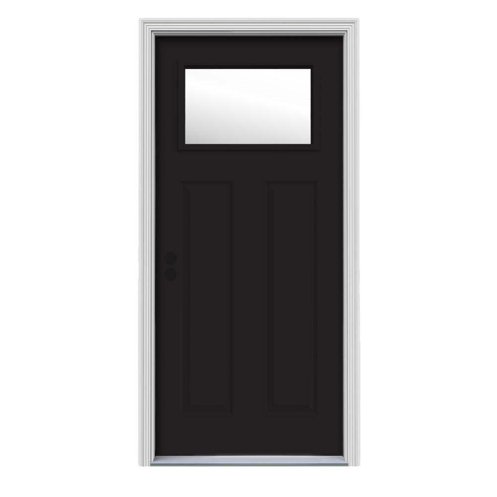30 in. x 80 in. 1 Lite Craftsman Black w/ White