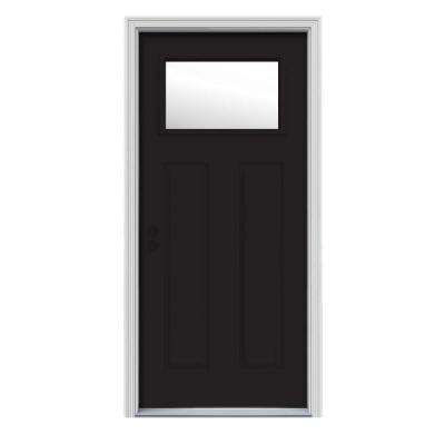 30 in. x 80 in. 1 Lite Craftsman Black w/ White Interior Steel Prehung Right-Hand Inswing Front Door w/Brickmould