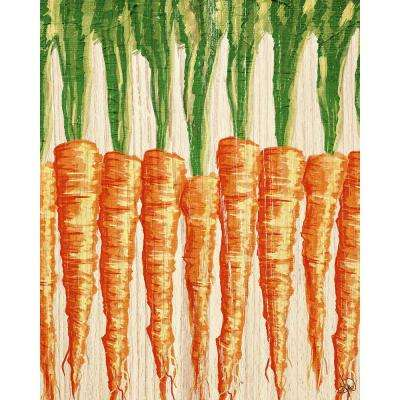 """20 in. x 24 in. """"Row of Carrots Wood"""" Planked Wood Wall Art Print"""