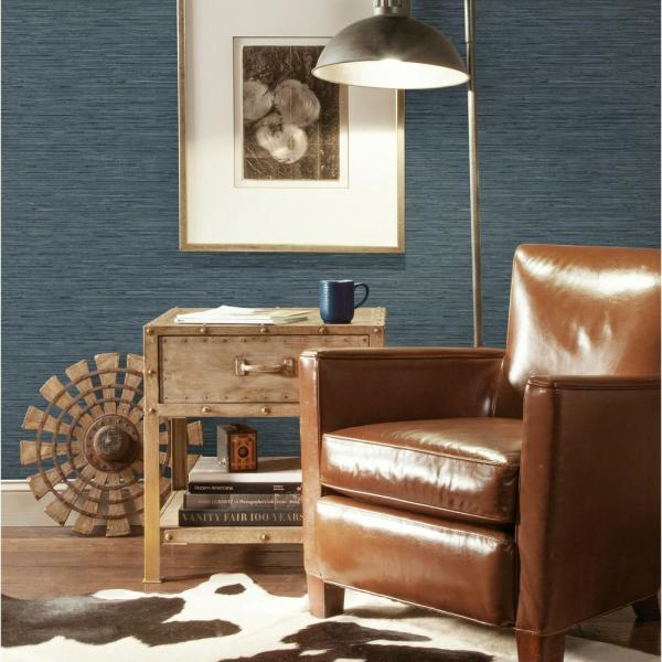 Roommates 28 18 Sq Ft Grasscloth Blue Peel And Stick Wallpaper Rmk11314wp The Home Depot