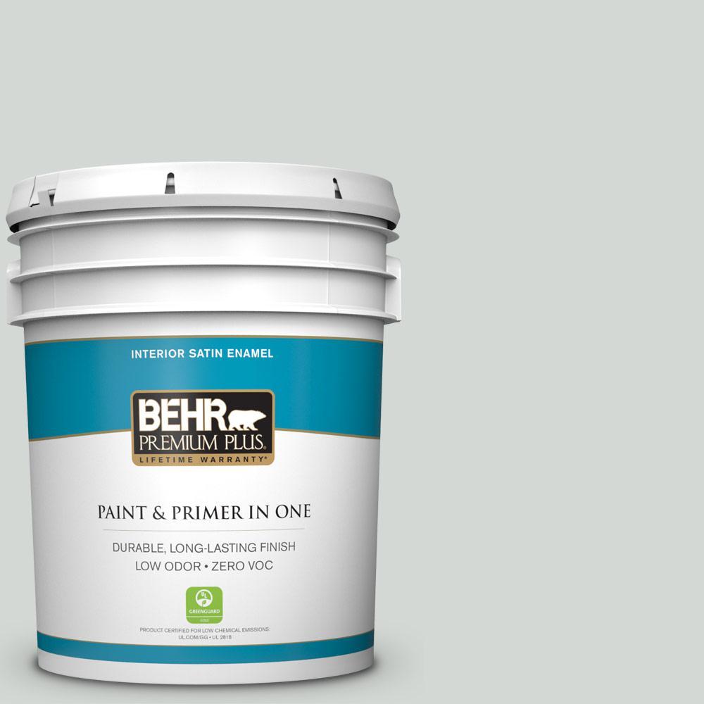 BEHR Premium Plus 5-gal. #710E-2 Pensive Sky Zero VOC Satin Enamel Interior Paint