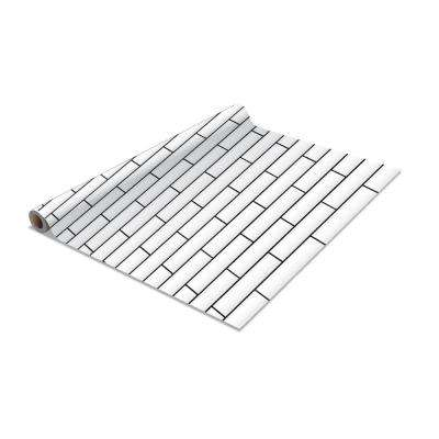 2-Pack Subway Tile Self-Adhesive Shelf Liner in White