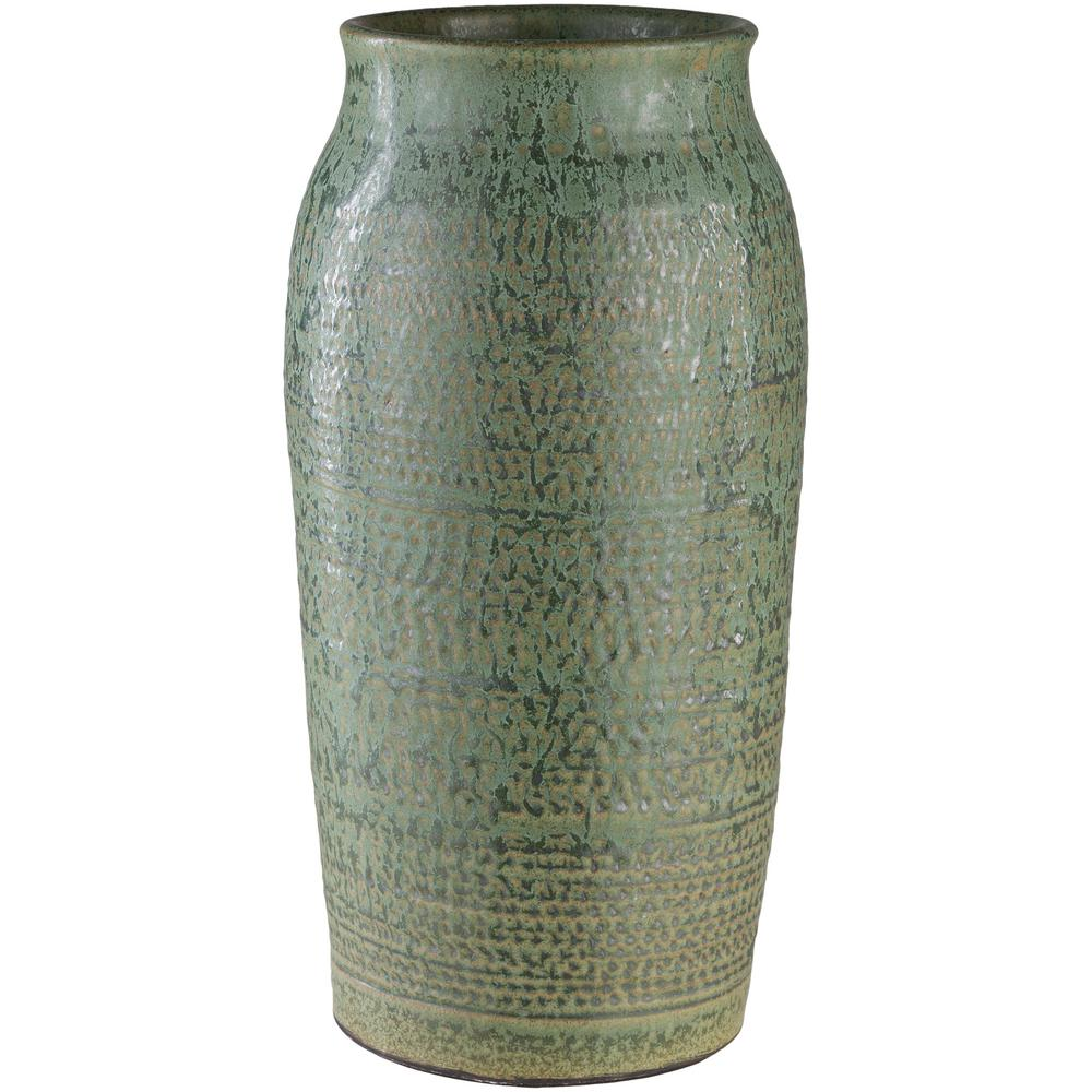 Salia 15.25 in. Ceramic Decorative Vase in Green