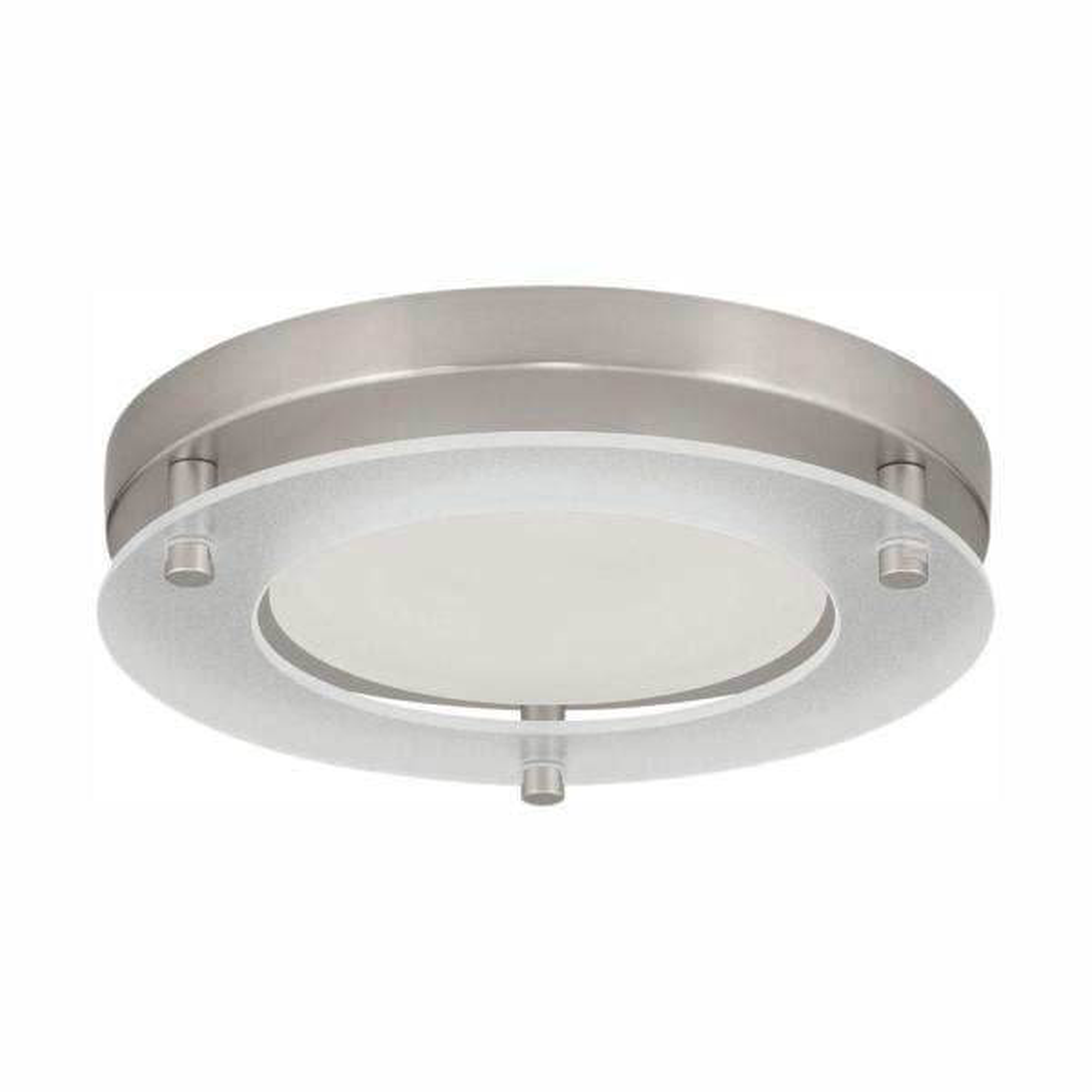 7.25 in. Flush Mount Collection 17-Watt Brushed Nickel Integrated LED Flush Mount