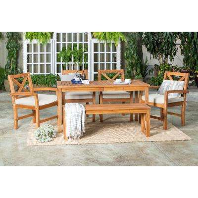 6 Piece Acacia Wood Outdoor Dining Set With Tan Cushions