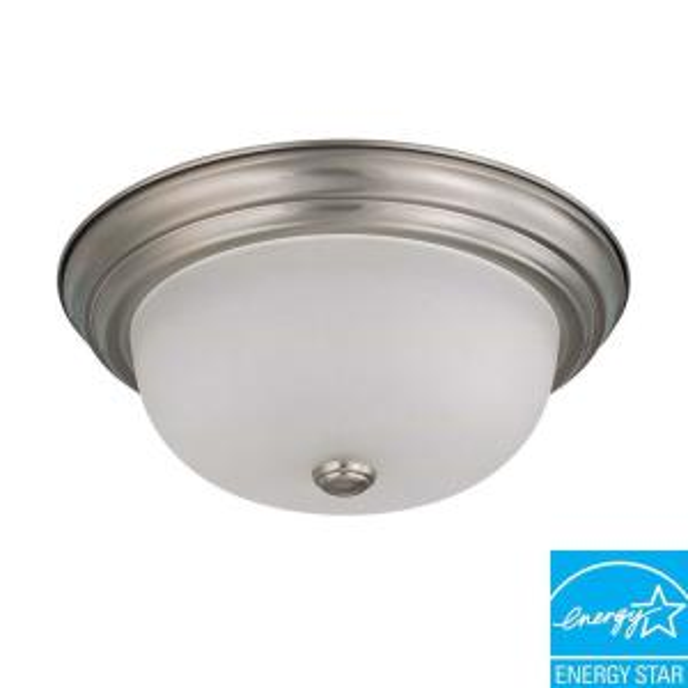 2light flushmount brushed nickel fluorescent light fixture