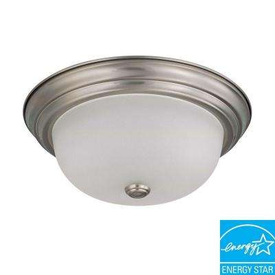 2-Light Flush-Mount Brushed Nickel Fluorescent Light Fixture