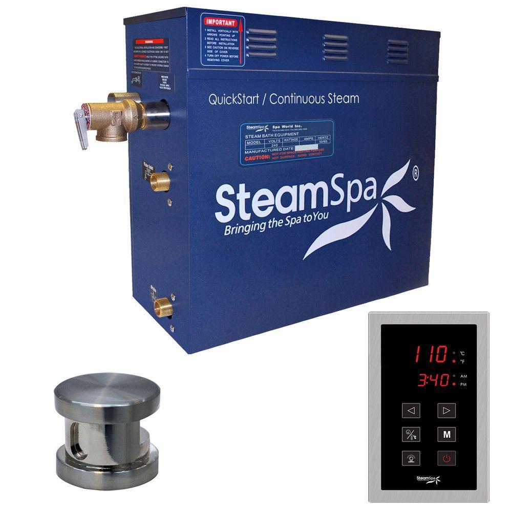 Oasis 9kW QuickStart Steam Bath Generator Package in Polished Brushed Nickel