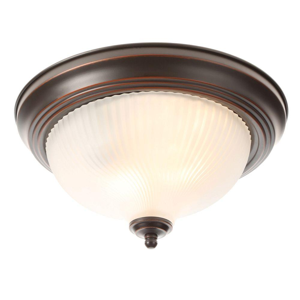11 In 2 Light Oil Rubbed Bronze Flushmount With Frosted Swirl Gl Shade