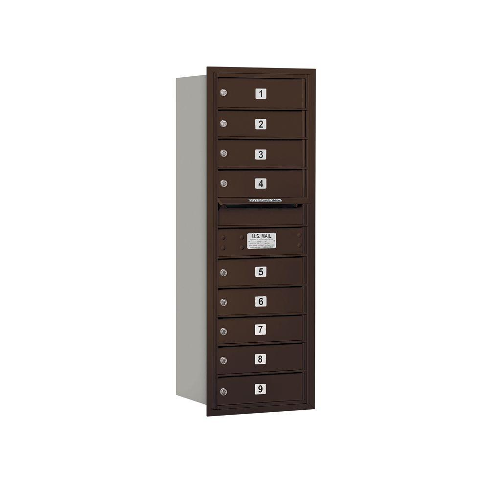 Salsbury Industries 3700 Series 41 in. 11 Door High Unit Bronze Private Rear Loading 4C Horizontal Mailbox with 9 MB1 Doors