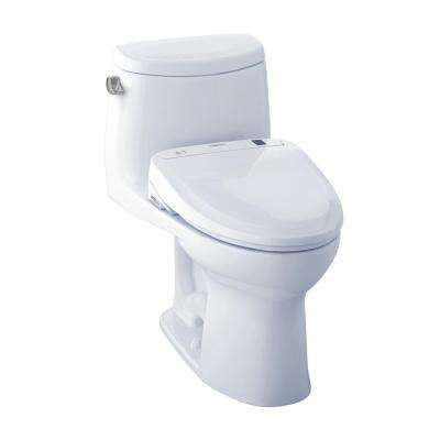 UltraMax II Connect+ 1-Piece 1.28 GPF Elongated Toilet with Washlet S350e Bidet Seat and CeFiOntect in Cotton White