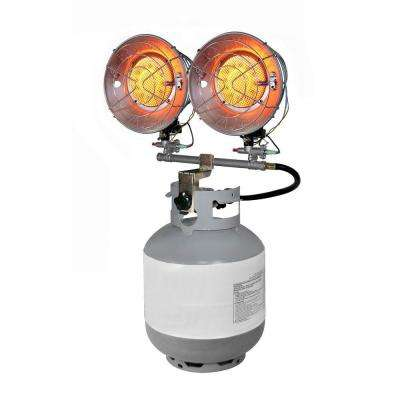 Double Burner 30,000 BTU Radiant Tank Top Propane Portable Heater