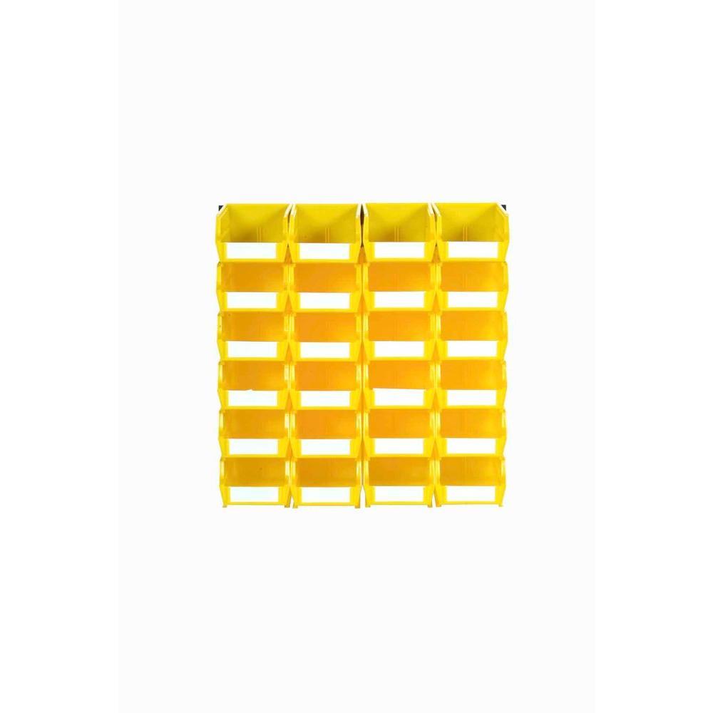 Triton LocBin .212-Gal. Small Bin System in Yellow (24-Bins) and 2-Wall Mount Rails