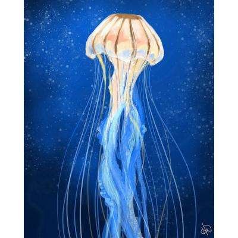 "20 in. x 24 in. ""Golden Jellyfish"" Acrylic Wall Art Print"