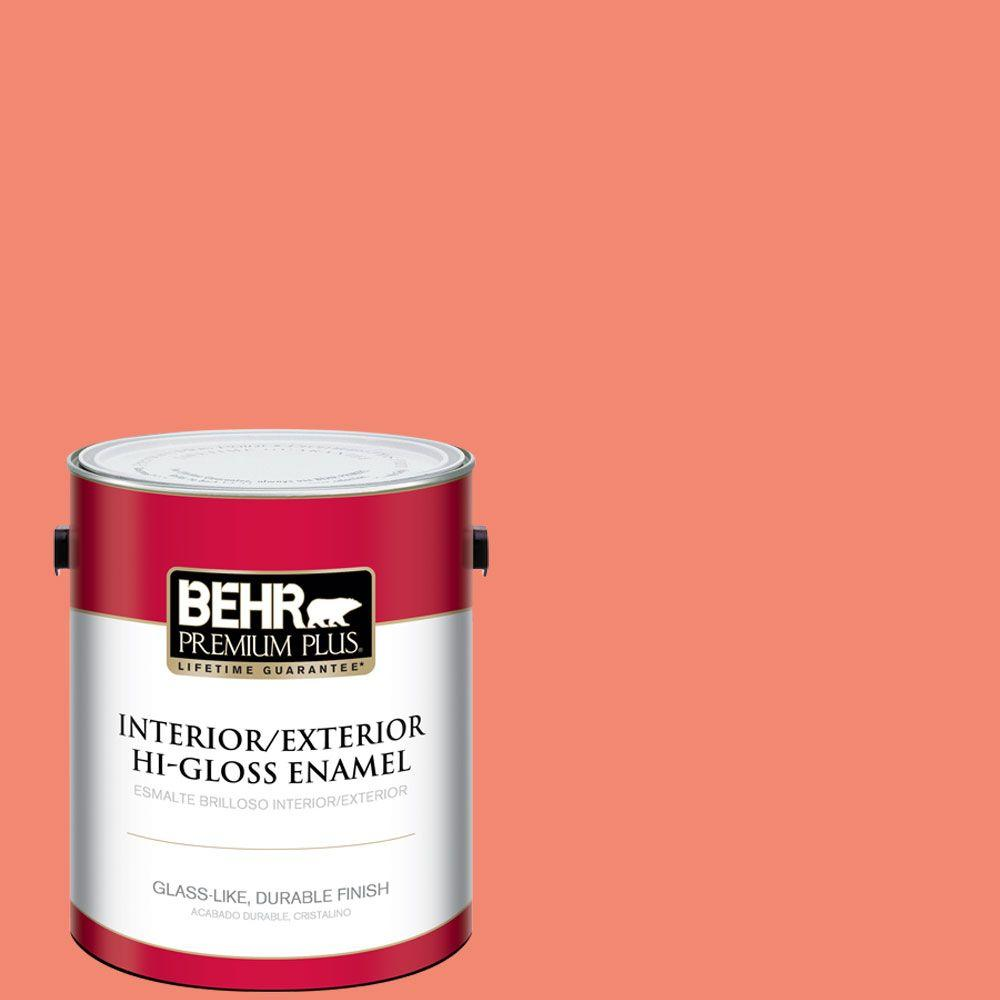 BEHR Premium Plus 1-gal. #190B-5 Juicy Passionfruit Hi-Gloss Enamel Interior/Exterior Paint