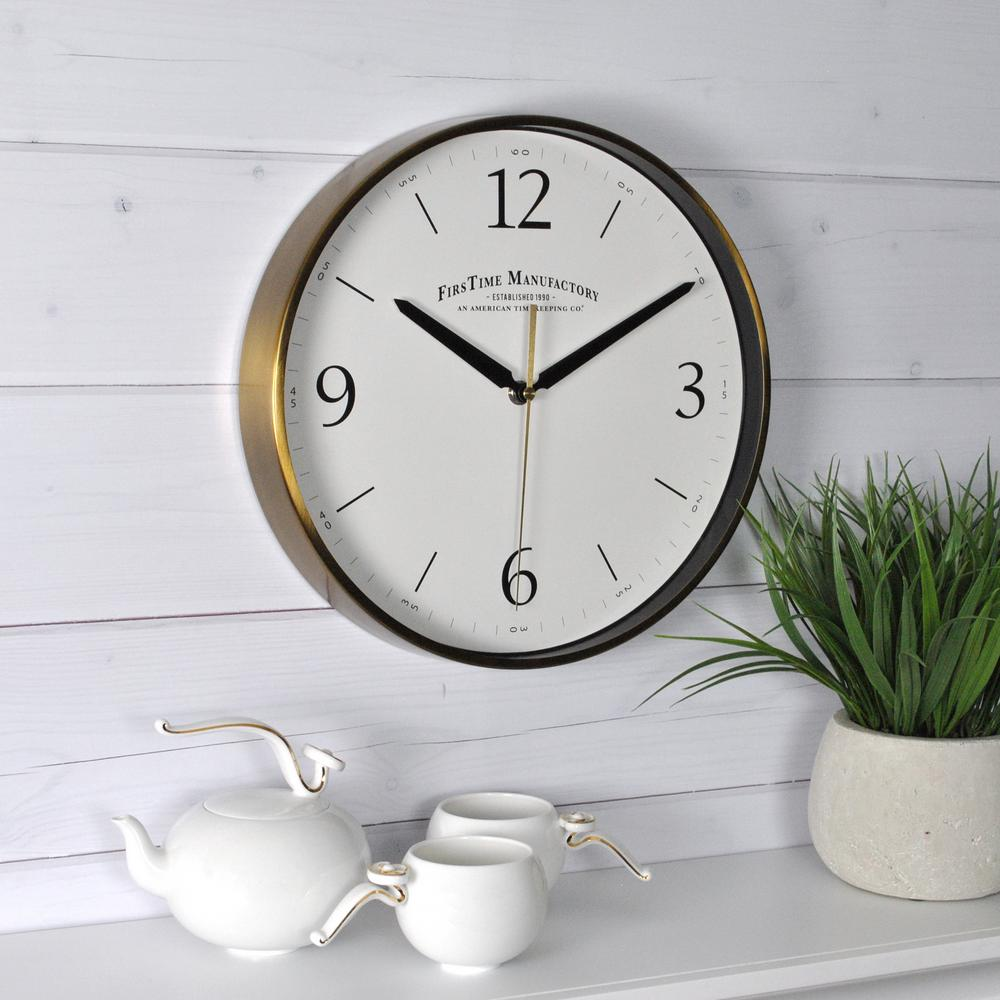 firstime gold metal wall clock 50070 the home depot. Black Bedroom Furniture Sets. Home Design Ideas