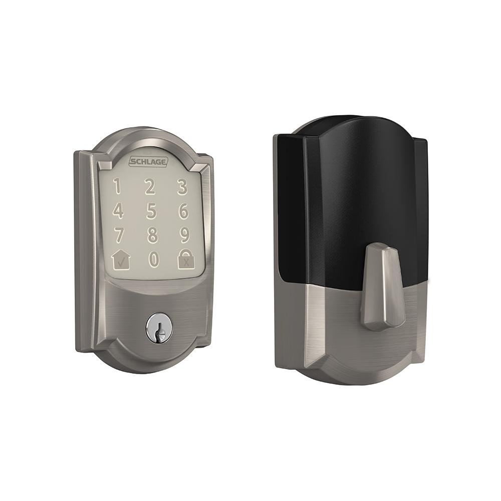 Schlage Camelot Encode Smart Wifi Door Lock with Alarm in Satin Nickel