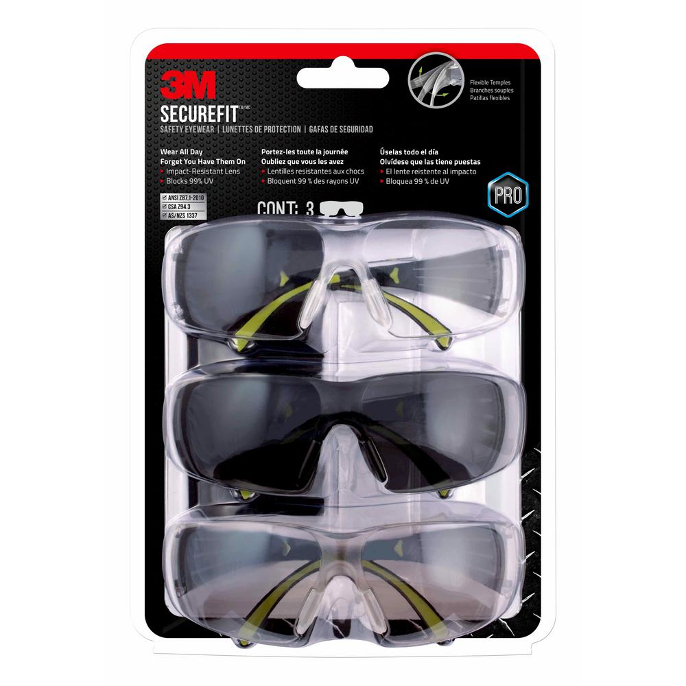 03a94d9284 SecureFit 400 Series Black Neon Green Frame with Anti-Fog Lens Safety  Eyewear (3-Pack)