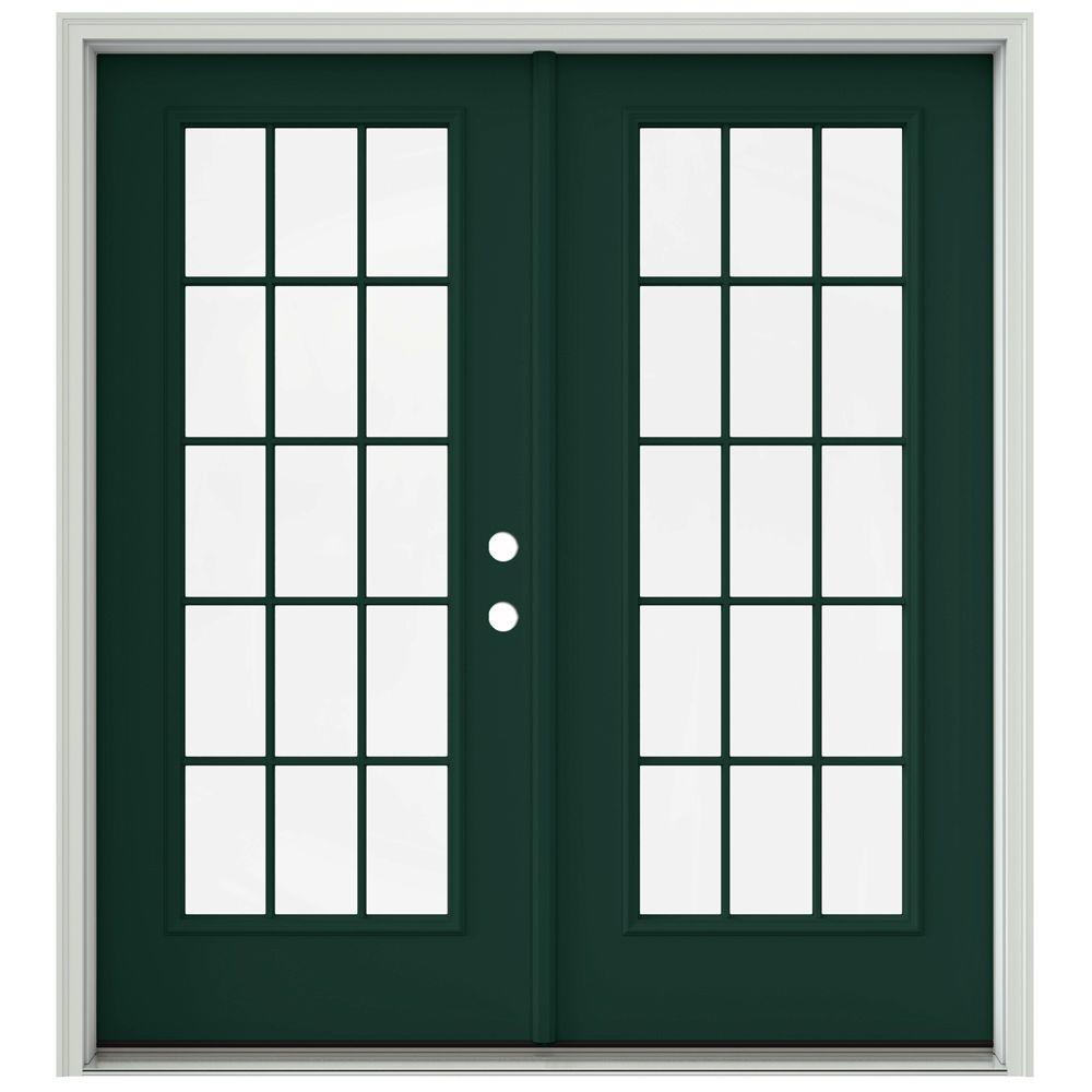 Jeld Wen 72 In X 80 In Hartford Green Prehung Left Hand Inswing 15 Lite French Patio Door With