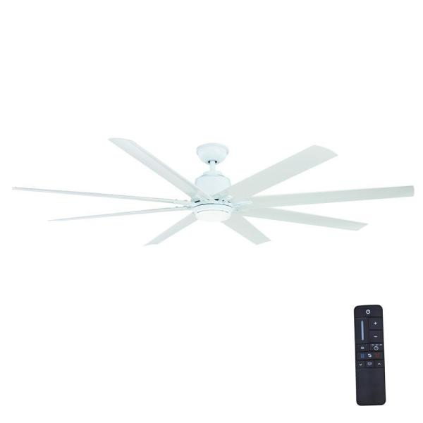 Kensgrove 72 in. LED Indoor/Outdoor White Ceiling Fan with Light Kit and Remote Control