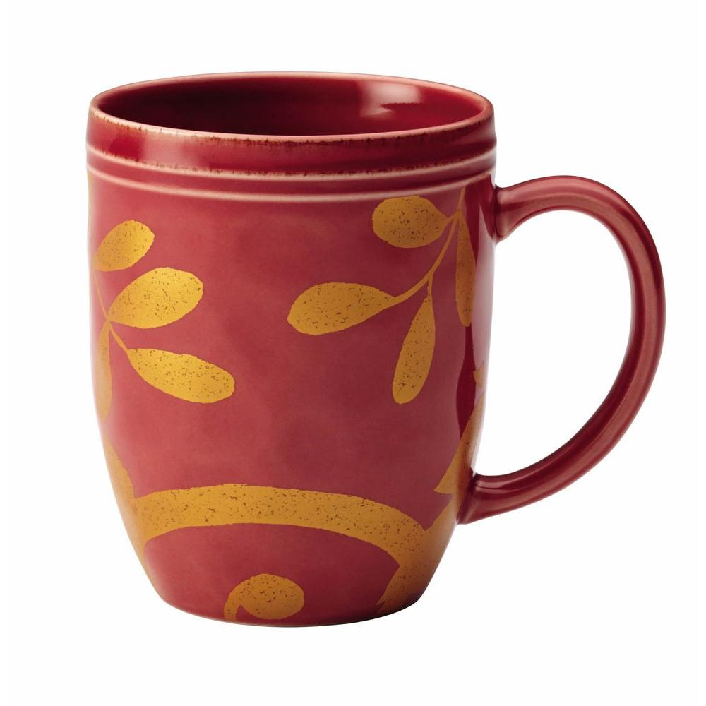 Rachael Ray Dinnerware Gold Scroll 12 oz. Stoneware Beverage Mug in ...
