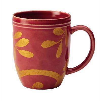 Dinnerware Gold Scroll 12 oz. Stoneware Beverage Mug in Cranberry Red