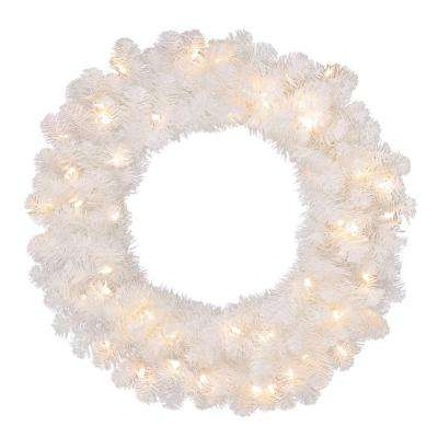 30 in. Pre-Lit LED Artificial Glossy-White North Hill Christmas Wreath with 136 Tips and 50 Warm White Lights