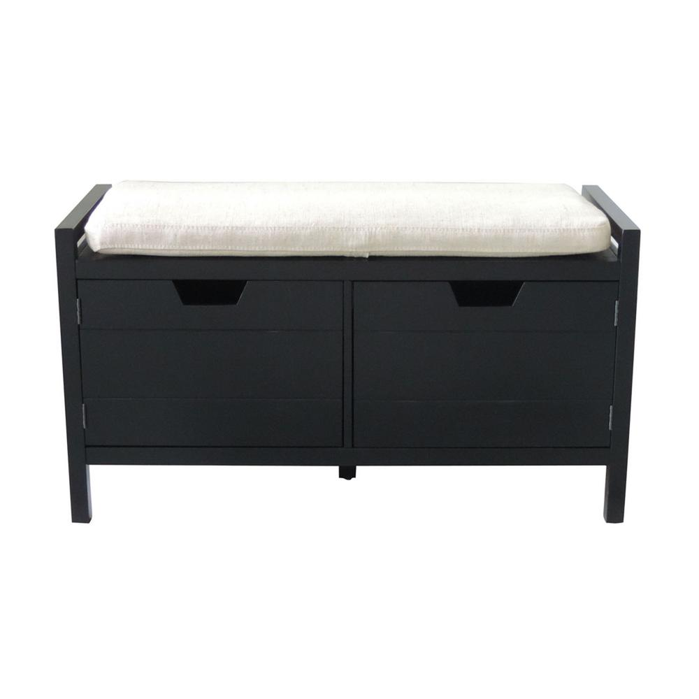 Black Storage Bench 13 95llt The Home Depot