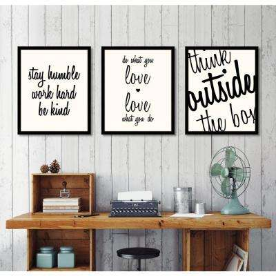 """24 in. x 20 in. """"Stay Humble, Work Hard, Be Kind (on white)"""" Framed Giclee Print Wall Art"""