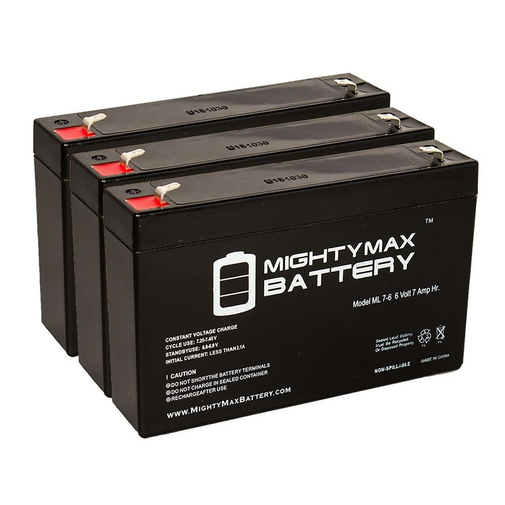 MIGHTY MAX BATTERY 6-Volt 7 Ah Sealed Lead Acid Rechargeable Battery (3-Pack)