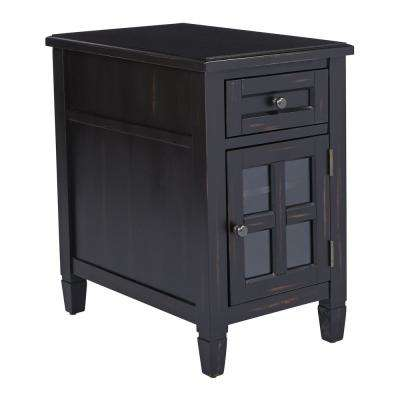 Drayton Antique Black Side Table with Power