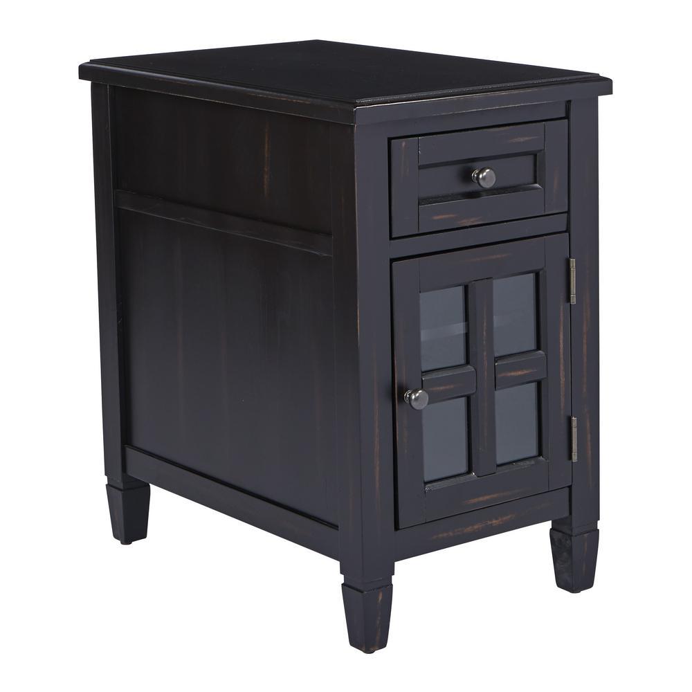 OSP Home Furnishings Drayton Antique Black Side Table with Power BP-DRYAC-YCM1